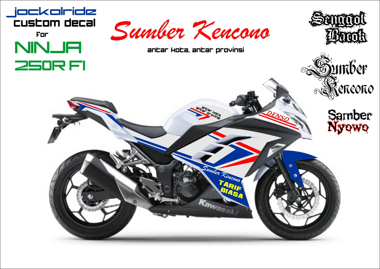 Custom decal for ninja 250 fi sumber kencono