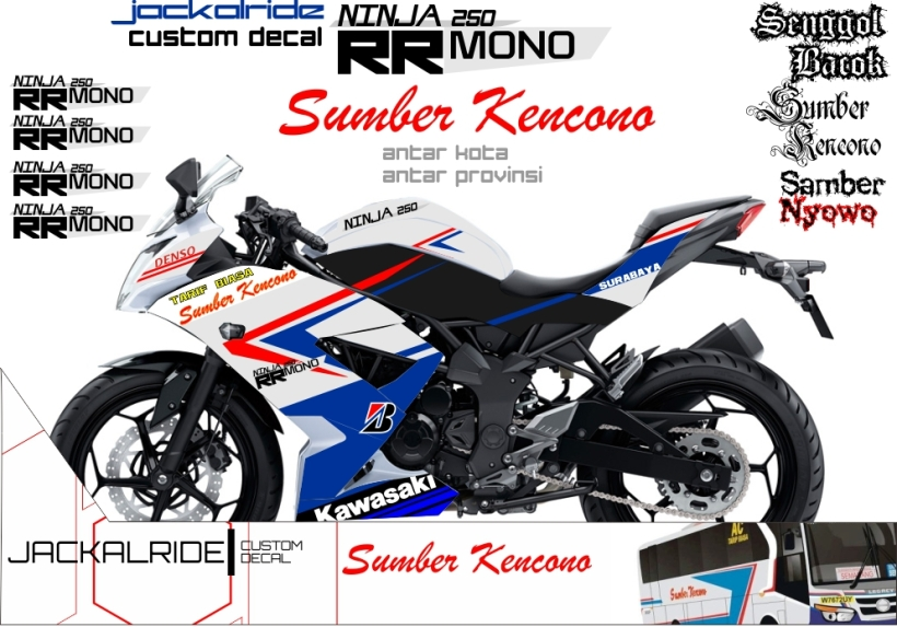 custom decal ninja 250 mono SumberKencono