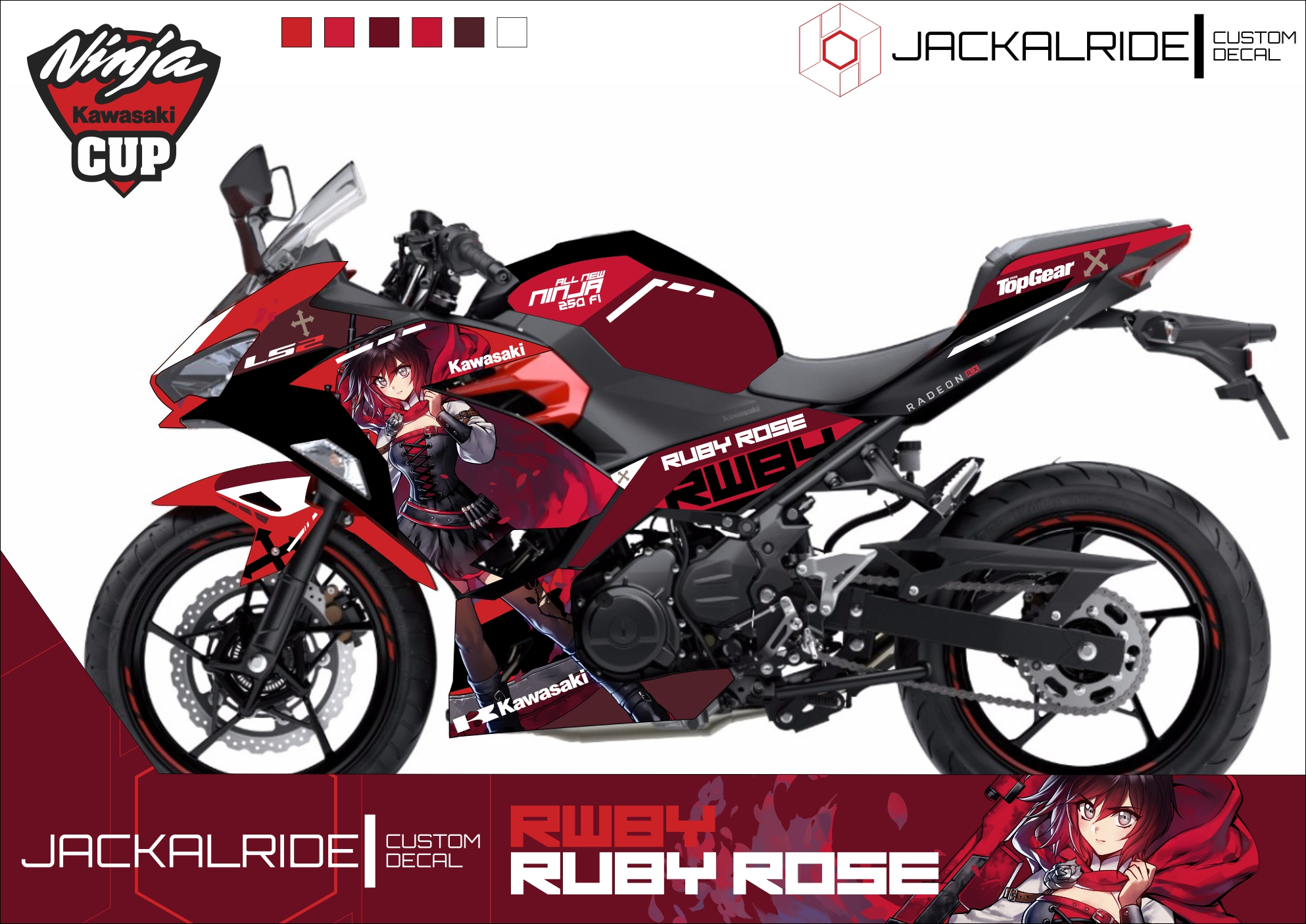 Custom decal for all new ninja 250 fi ruby rose from rwby
